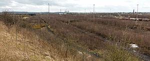 East Midlands Hub railway station - Image: Toton Up sidings and site of Marshalling Yard