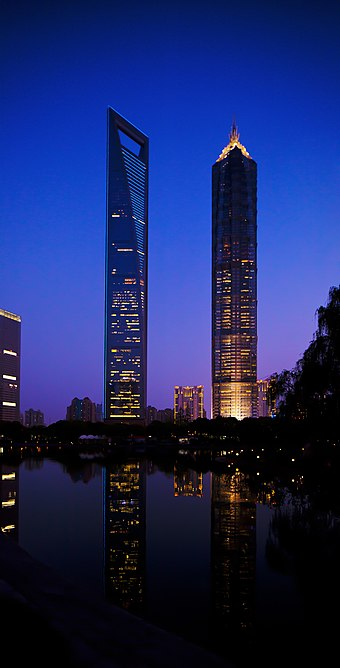 Shanghai World Financial Center (left) and Jin Mao Tower (right) Tower pudong shanghai jinmao tower and swfc.jpg
