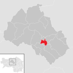 Lage der Gemeinde Traboch im Bezirk Leoben (anklickbare Karte)
