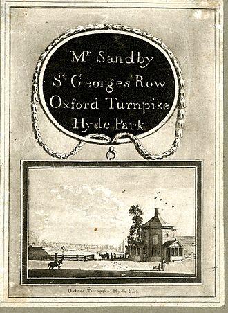 Paul Sandby - Trade card of Paul Sandby, drawing master