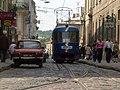 Трамвай Таtrа T-4SU на сплетении рельсов по улице Русской, которое просуществовало с 1894 по 2006 года ( 2005) .