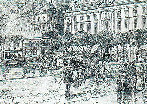 Trams in Rouen - Steam tram near the theatre in the early 1880s