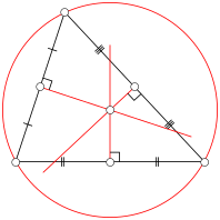 The circumcenter is the center of a circle passing through the three vertices of the triangle.