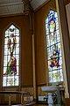 Tromsø Cathedral (domkirke) Norway interior. Choir, stained glass windows (Således skal menneskesønnen opphøyes) (Og se jeg er med eder alle dager inntil verdens ende), baptismal font, etc Wooden church 1861 2019-04-04 DSC02231.jpg
