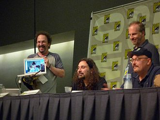 TV Funhouse - The TV Funhouse Panel at Comic-Con in 2008. L to R: Robert Smigel (with Triumph, the Insult Comic Dog), Dino Stamatopoulos, Bob Odenkirk and Tommy Blacha with Doug Dale on laptop screen