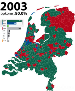 Dutch general election, 2003 - Image: Tweede Kamerverkiezingen 2003