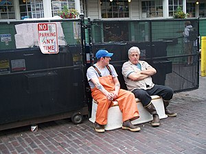 Break (work) - Two men taking a break during their workday