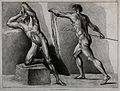 Two male nude figures, one throwing his head back, while the Wellcome V0049084.jpg