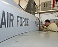 U.S. Air Force Senior Airman Marc James, with the 364th Training Squadron, practices removing and installing hydraulic components on a T-38 Talon aircraft at Sheppard Air Force Base, Texas, Sept 110923-F-NF756-009.jpg