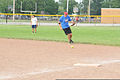 U.S. Coast Guard Chief Petty Officer Jeffrey Schmitt, a search and rescue controller at the 9th Coast Guard District Command Center in Cleveland, fields a ground ball during his unit's softball practice 130731-G-KB946-015.jpg