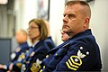 U.S. Coast Guardsmen listen as Adm. Bob Papp, not shown, the Commandant of the Coast Guard, discusses Sexual Assault Awareness and Prevention Month during a chief's call at Coast Guard Headquarters 130403-G-ZX620-004.jpg
