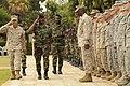 U.S. Marine Corps Col. Anthony Fernandez III, left, the task force commander for Western Accord 2012, and Senegalese Army Brig. Gen. Pape Samba Kamara salute during the opening ceremony for Western Accord 2012 120609-Z-KE462-168.jpg