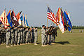 U.S. Soldiers, of U.S. Army Signal Center, and Fort Gordon participate in the formation of colors, during the opening ceremony of the Signal Center commanding general change of command ceremony, on Fort Gordon 100721-A-NF756-022.jpg