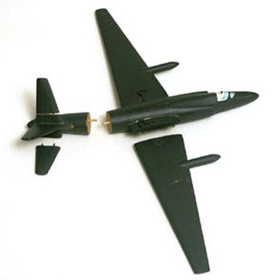 Francis Gary Powers - Wooden U-2 model – one of two used by Powers when he testified to the Senate Committee. The wings and tail are detached to demonstrate the aircraft's breakup upon impact.