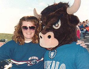 Victor E. Bull - UB's Buffalo Bulls mascot with UB Pep Band member, October 1990
