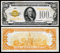 $100 Gold Certificate, Series 1934, Fr.2406, depicting Benjamin Franklin