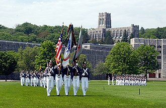 Military parade - U.S. Military Academy cadet color guard on parade