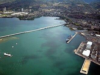 Admiral Clarey Bridge - Admiral Clarey Bridge with the USS Arizona Memorial, USS Bowfin, museums, naval yards, and Aloha Stadium visible