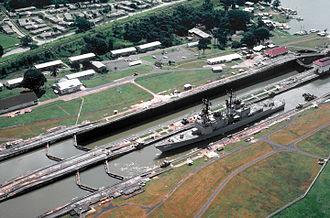 USS Arthur W. Radford - Arthur W. Radford (DD-968) transits the Panama Canal during Unitas XXI.