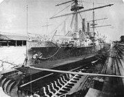 USS Boston in drydock