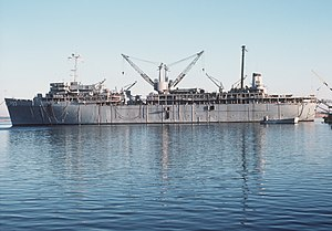 USS Simon Lake (AS-33) at Kings Bay in 1981