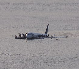 US Airways Flight 1549 (N106US) after crashing into the Hudson River (crop 1).jpg