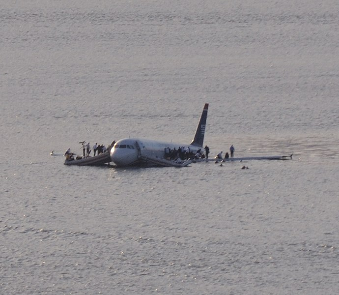 file:US Airways Flight 1549 (N106US) after crashing into the