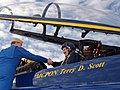 US Navy 050203-N-1539M-005 Master Chief Petty Officer of the Navy (MCPON) Terry D. Scott shakes hands with Blue Angel pilot, Lt. John Allison, prior to takeoff for a 45-minute familiarization flight.jpg