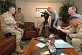 US Navy 050505-N-3241H-015 Commander U.S. Central Command, Gen. John Abizaid answers questions during an interview conducted by Journalist 3rd Class Chris Fahey and the Gold Eagle Public Affairs Team.jpg