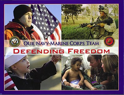 The cover of a coffee table book about the US Navy. US Navy 050526-N-0000X-001 Cover photo of the new coffee table photo book Defending Freedom.jpg