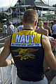 US Navy 061020-N-4856G-016 Special Operations Chief (SEAL) Mitch Hall assigned to Naval Special Warfare Center stands out in a crowd of athletes prior to the 2006 Ironman World Championship.jpg