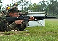 US Navy 070426-N-3857R-006 A Seabee attached to Naval Mobile Construction Battalion (NMCB) 1 takes dead aim on his target during M16E3 rifle qualifications held in Woolmarket.jpg