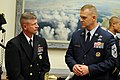 US Navy 090722-N-9818V-036 Master Chief Petty Officer of the Navy (MCPON) Rick West speaks with Chief Master Sgt. of the Air Force James Roy before testifying before the House Armed Services Committee, Subcommittee on Military.jpg