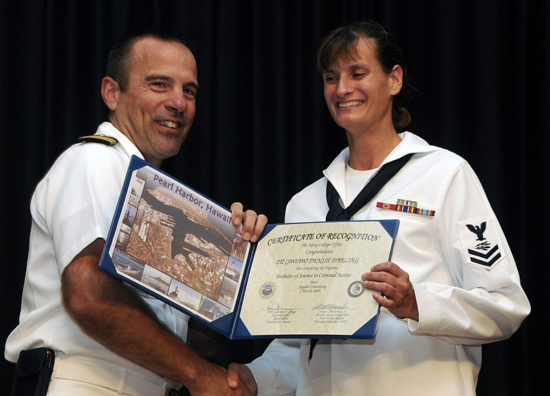 File:US Navy 091029-N-7498L-066 Information Systems Technician 2nd Class Denise Darling received the certificate of recognition for completing her bachelors degree in Criminal Justice with emphasis in cyber crime.jpg