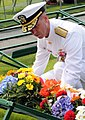 US Navy 100531-N-0982V-069 Rear Adm. John M. Richardson, chief staff for U.S. Naval Forces Europe-Africa, lays a wreath at the Rhone American Cemetery And Memorial.jpg