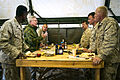US Navy 100605-N-5549O-184 Secretary of the Navy the Honorable Ray Mabus visits with Sailors and Marines while eating lunch in Tan-Tan, Morocco.jpg