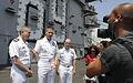US Navy 100713-N-8288P-099 Capt. Dee L. Mewbourne, left, commanding officer of the aircraft carrier USS Dwight D. Eisenhower (CVN 69), Rear Adm. Phil S. Davidson,.jpg