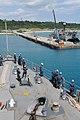 US Navy 110923-N-MW330-311 Sailors aboard the amphibious dock landing ship USS Germantown (LSD 42) prepare to dock at West Army Pier in Okinawa, Ja.jpg