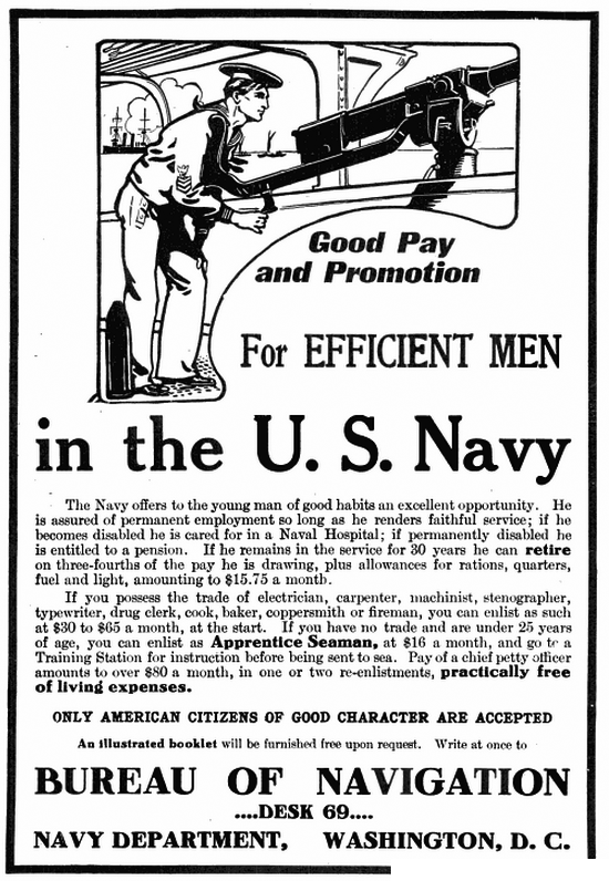 US Navy recruitment advert in Popular Mechanics 1908