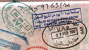 passport stamps from the UAE. Entry via Dubai,...