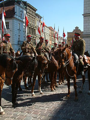 Polish cavalry - Volunteer Representative Squadron of City of Poznań in uniforms of 15th Poznań Uhlans Regiment
