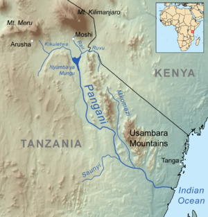 Usambara Mountains map.png