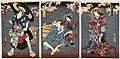 Utagawa Kunisada II - Actors Onoe Kikugorô IV as Miuraya Agemaki, unidentified actor as a kamuro, Kawarazaki Gonjûrô i as Ushiwaka no Denshichi, and Ichikawa Kodanji IV as Kurotegumi no Sukeroku.jpg