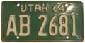 Utah 1964 License Plate.png