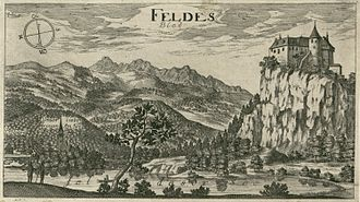Bled - Lake Bled and Bled Castle by Valvasor, 17th century