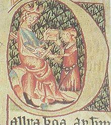 Un uomo giura fedeltà al re di Norvegia, dal manoscritto dello Skarðsbók.