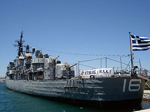 USS Charrette - Velos (D16) as a naval museum in the Gulf of Faliro in Athens, 3 June 2006, 64 years after her launch