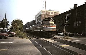 Vermonter (train) - The Vermonter at Brattleboro in August 1997