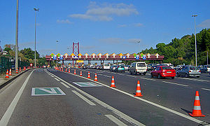 Via Verde - Via Verde lanes in the 25 April Bridge toll plaza, Almada.