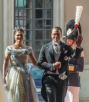 Wedding of Prince Carl Philip and Sofia Hellqvist - Crown Princess of Sweden and Prince Daniel on their way to the church